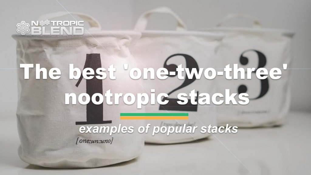 three bags with numbers (1,2,3) and text - 'the best one-two-three nootropic stacks'