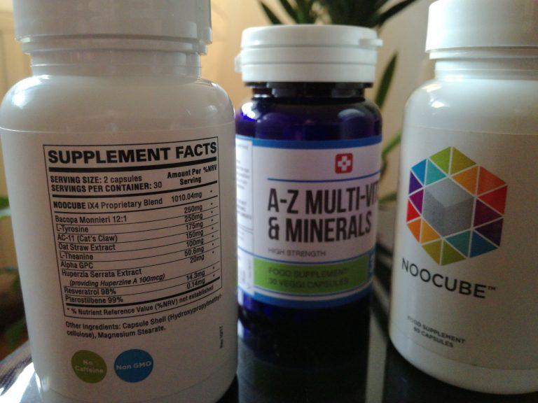 close up of NooCube bottles with A-Z multivitamin bottle in between