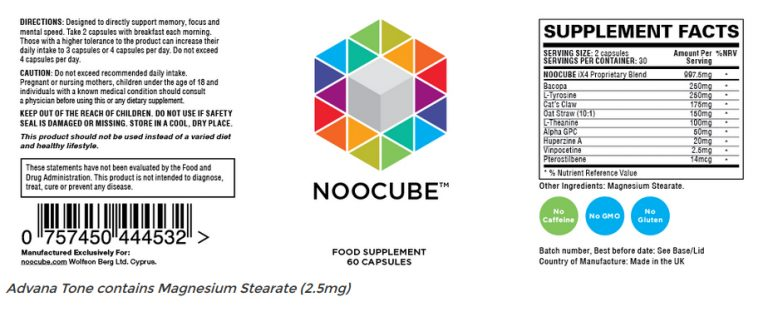 close up of noocube label of ingredients
