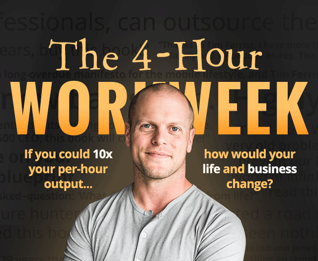 Tim Ferriss with the headline of his book in the background
