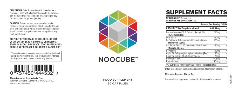label of the ingredients in the 'NooCube' formulation