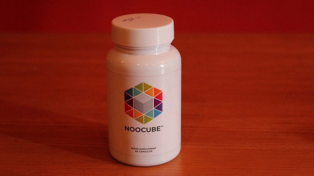NooCube bottle on the table - front view