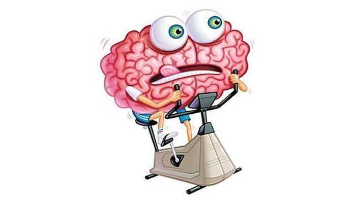 an animated graphic of the brain exercising at the gym bicycle