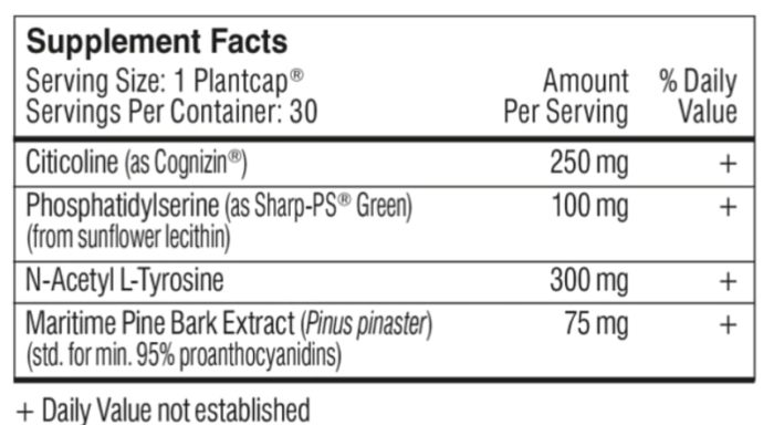 List of 'Performance Lab Pro' ingredients label