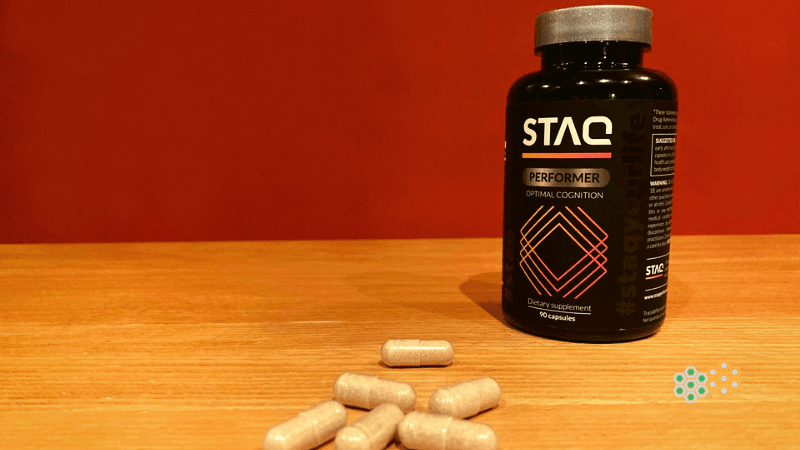 Bottle of STAQ Performer and capsules