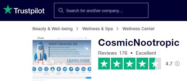 Cosmic Nootropics reviews on Trustpilot