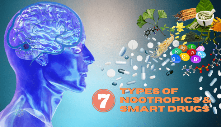 Picture of the man and Various types of nootropics substances