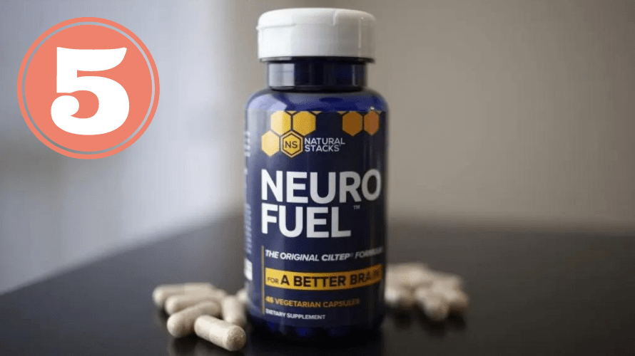 Picture of NEUROFUEL bottle and caps for best nootropic stack review