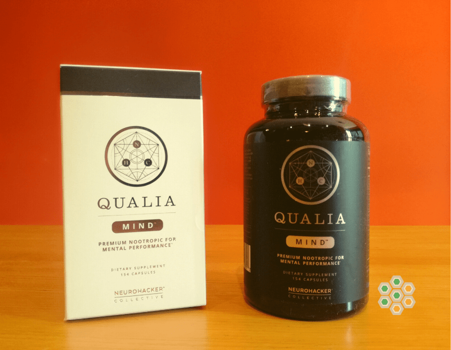 Picture of bottle and package of Qualia Mind