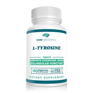 Bottle of L-tyrosine capsules