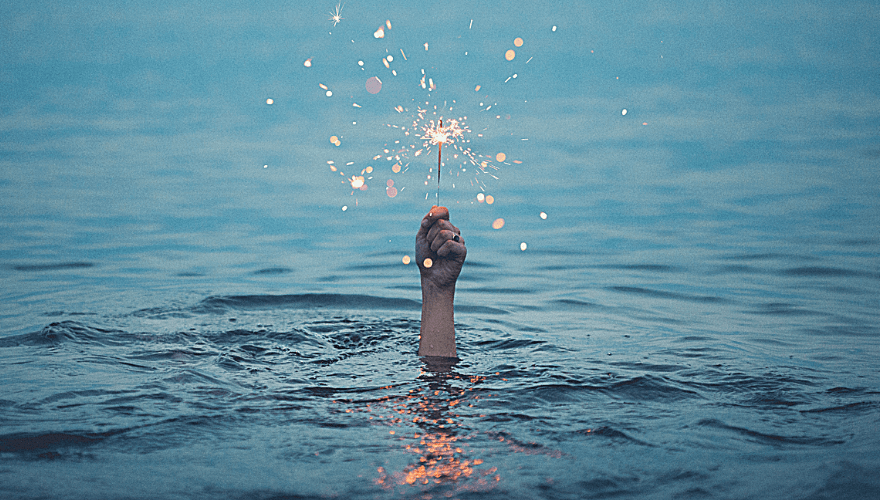 Picture of a hand emerging from the sea holding a sprinkler; how mood enhancers work