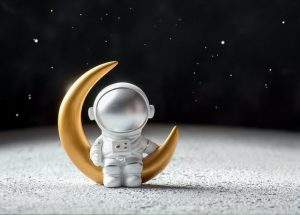 graphic of cosmonaut sitting on the moon
