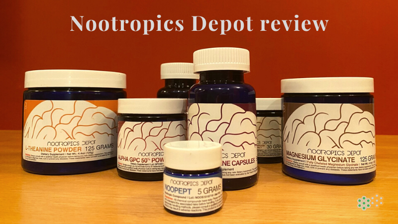 Supplements on table for Nootropics Depot review
