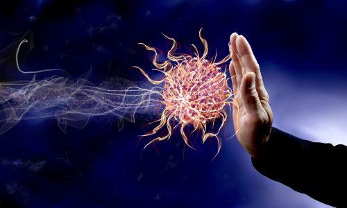 hand stoping the virus attack