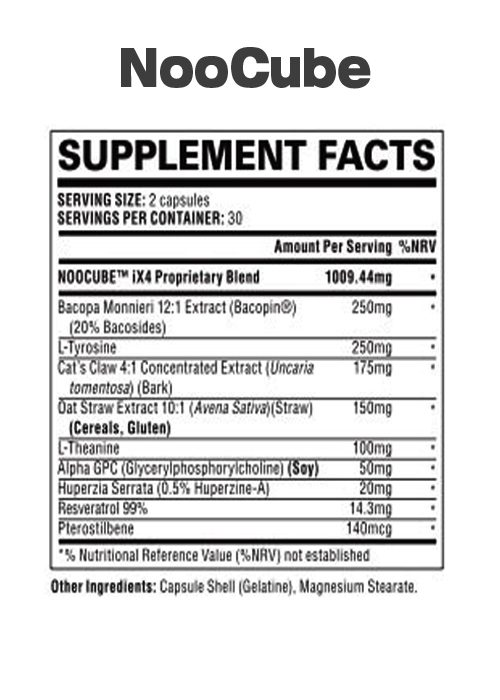 Noocube supplement label with ingredients