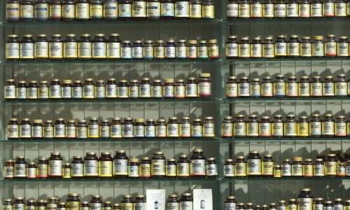 Big number of supplements on shelves