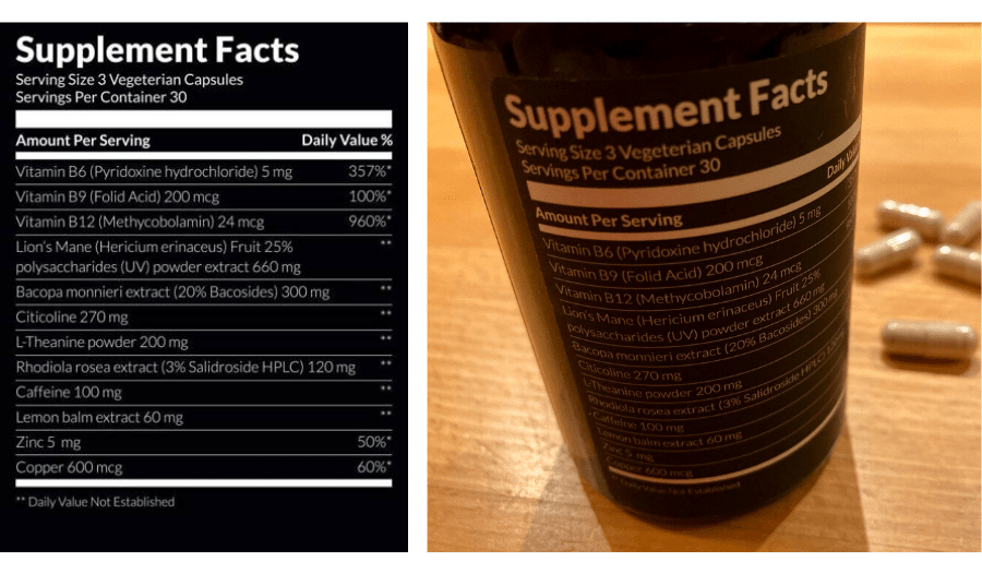 STAQ Performer label of ingredients